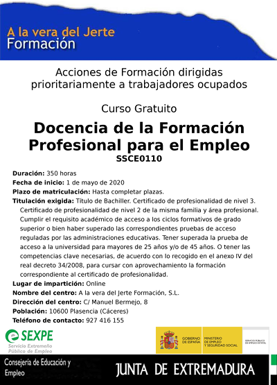 Ssce0110 Docencia Formacion Profesional Empleo Plasencia Online400